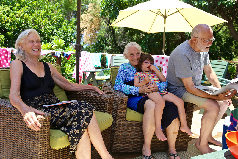 Bev, Sarah with Anahita and Steve, at the beach house.