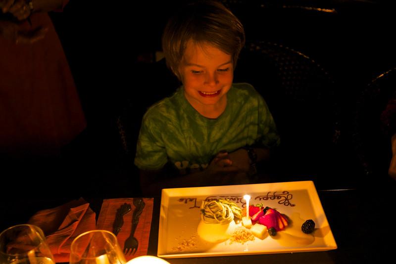 A birthday dessert is the restaurant's surprise.