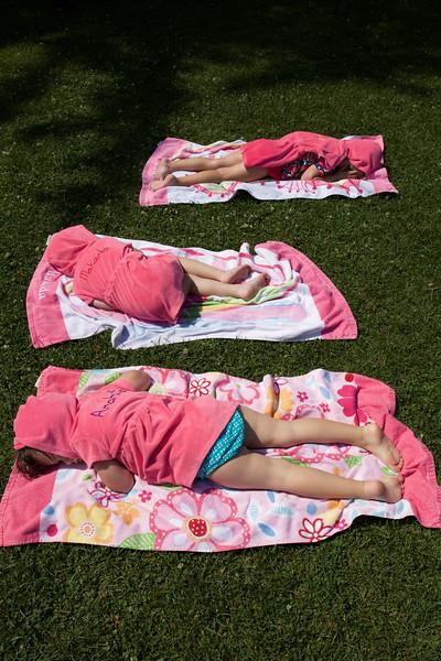 sunbathing at Lake Dunmore.