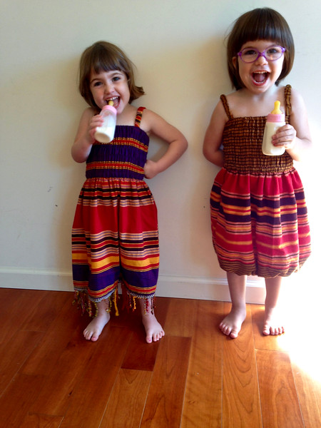 Makeda and Anahita in their African dresses.