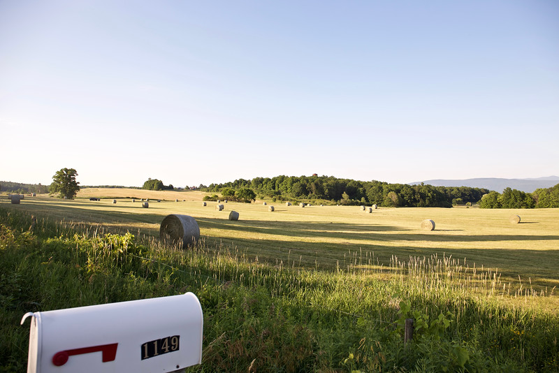 Farmers bailed the hay just after we arrived at Justin and Nathalie's home on Sheep Farm Road in Weybridge, VT.