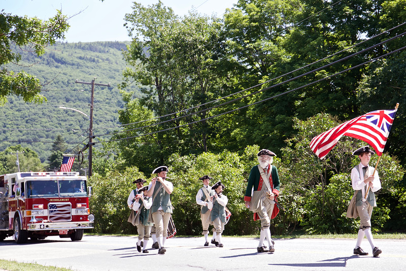 Middlebury's fire department followed up the revolutionary fife and drummers.
