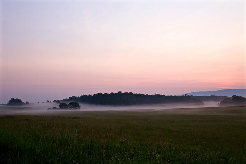 Weybridge, Vermont, early on a misty morning