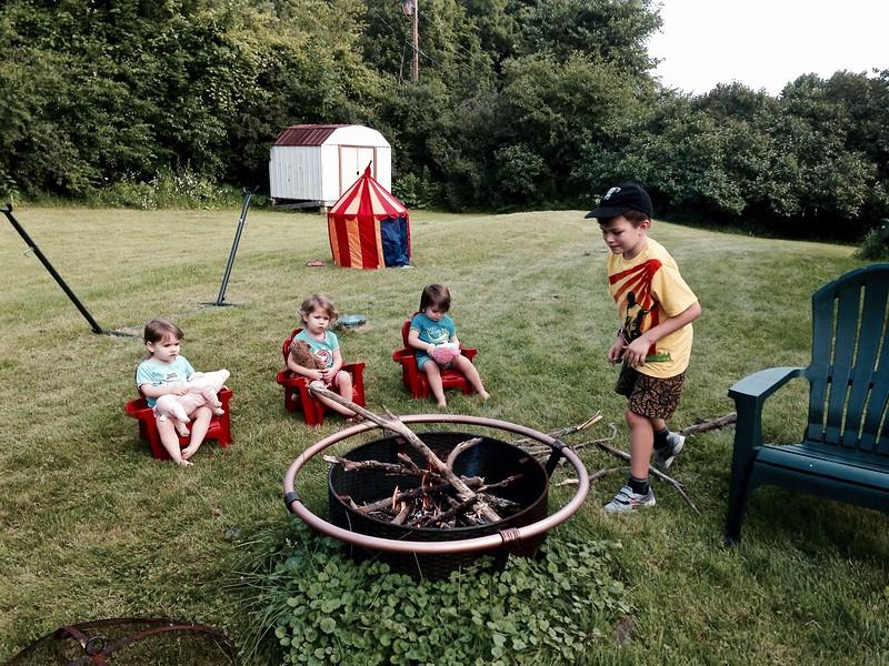 . . . and Taio can't wait to build a fire (at 7 a.m. the first morning).