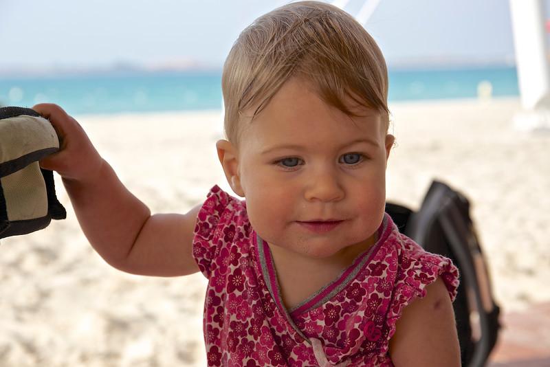 Clio on the beach.