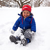 Baye enjoys a real winter's snow.