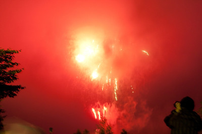 Watching fireworks in the rain in Shikaoi