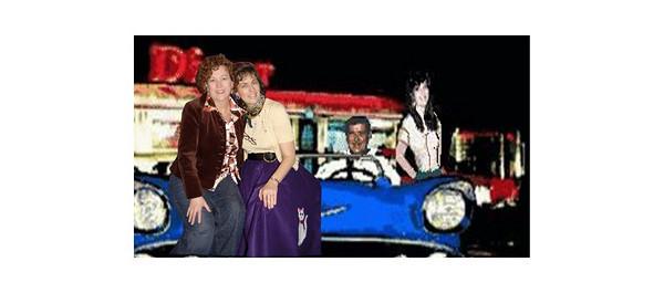 Karen & me hitchin' a ride.
