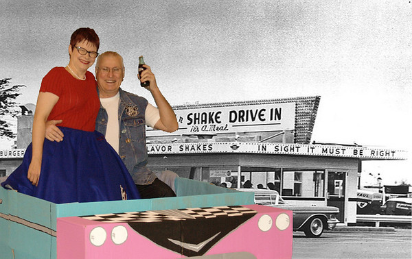 Pat & Marty Woodward enjoying a coke at the local drive-in.