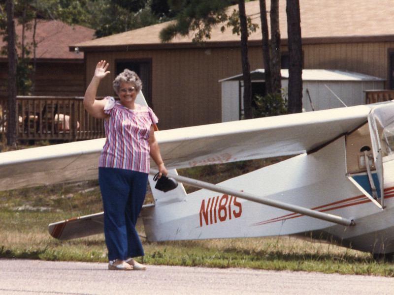 Mom taking a ride in a Glider in SC.