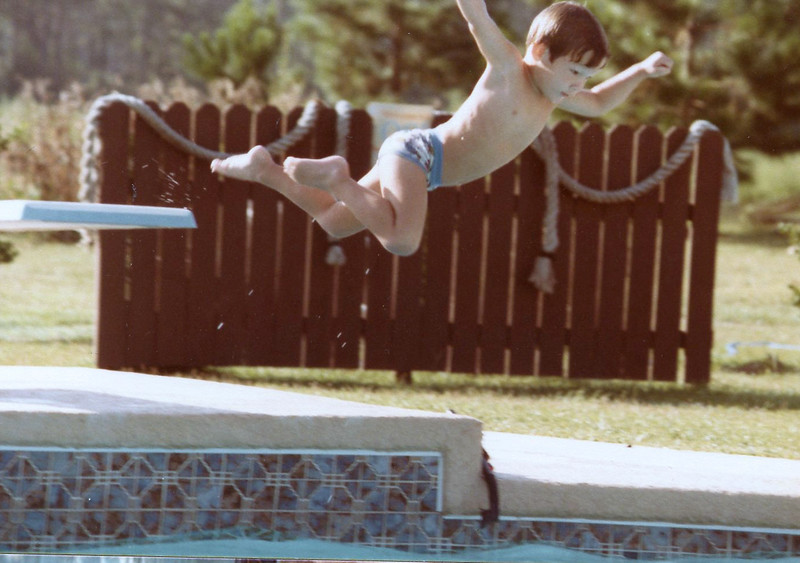 John Flying into the Pool