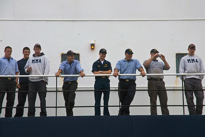 The boys lined the rail as the tug full of parents approached.  Can you pick Michael out of the lineup........ :-)
