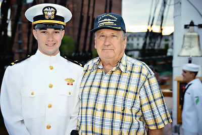 Odell served aboard the USS Baltimore in the 1950's, he is so proud to see his grandson commissioned as a Naval officer.