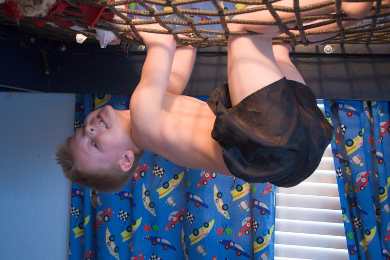 Hanging from the bunkbed