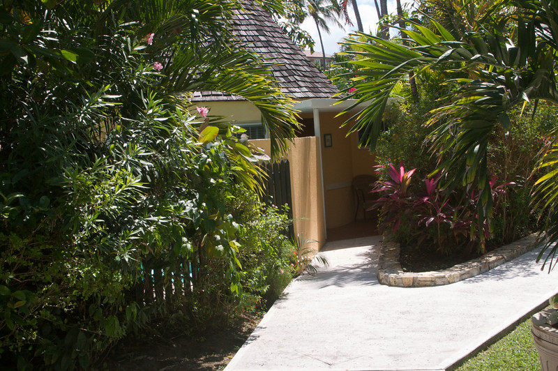 Entryway to our room. Private pool barely visible through fence.