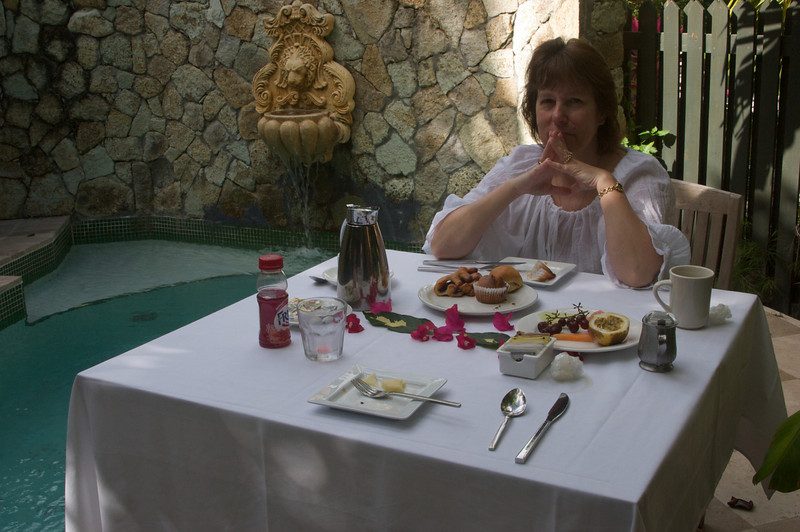 Breakfast on our private patio