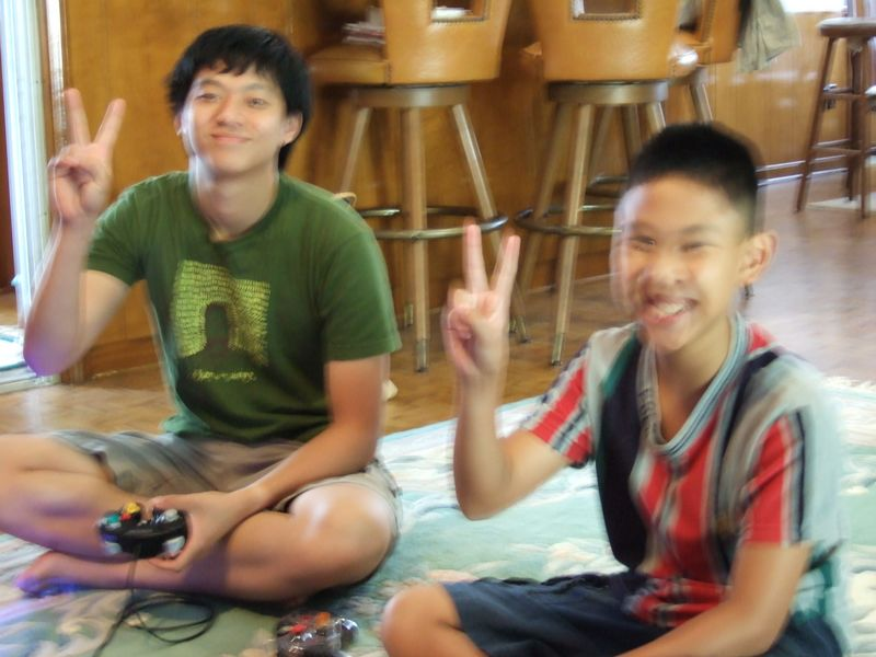 Tech and I playing smash brothers. Tech normally didn't look this happy when I was whooping on him.