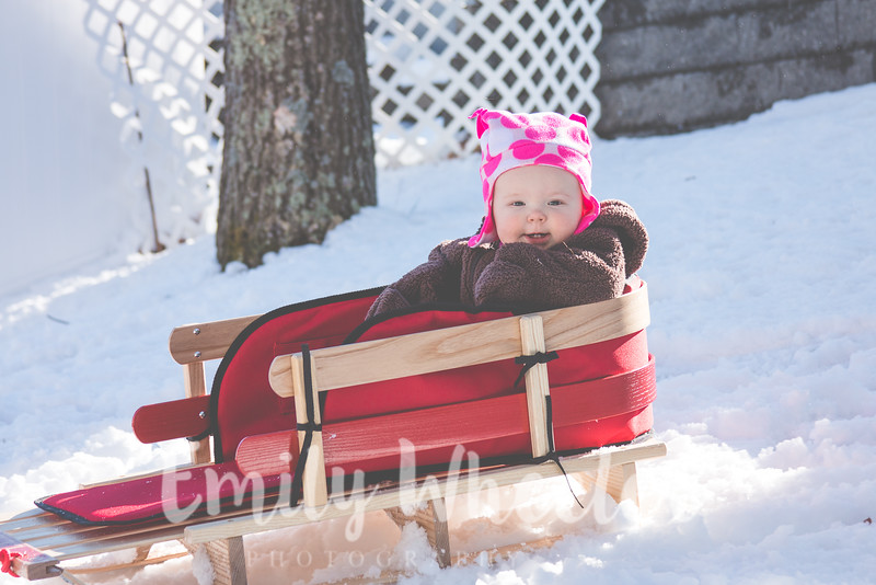 Day 38 | February 7th<br /> First time sledding! She loved it! Also, how adorable are those teeth?!