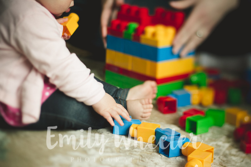 Day 93 | April 2nd<br /> Building blocks with daddy. This is one of the activities he can't wait for her to get into!