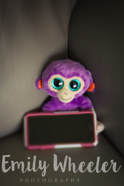 Day 130 | May 9th<br /> I forgot my phone at home and Jack, this purple little monkey, took good care of it.