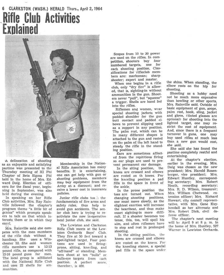 Mae Betty Rifle Club Activities Article