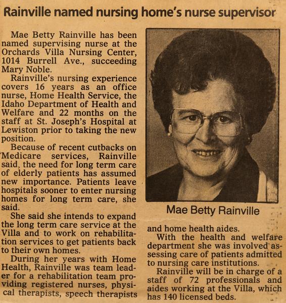 Mae Betty Piersol Rainville Nursing Article