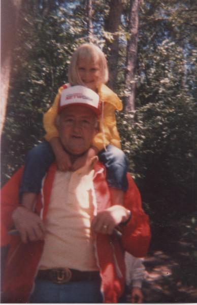 1985- trip back east- Bruce, Jessica in Sacred Grove
