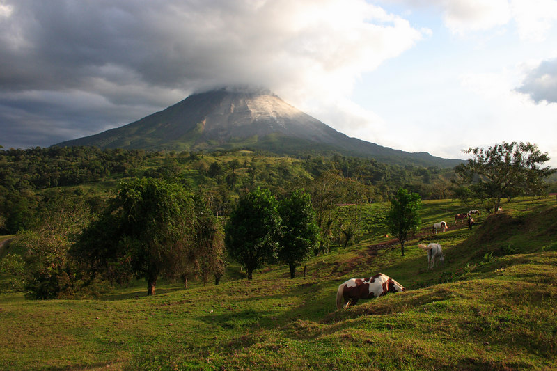 Arenal volcano, an active volcano that erupts frequently day and night.