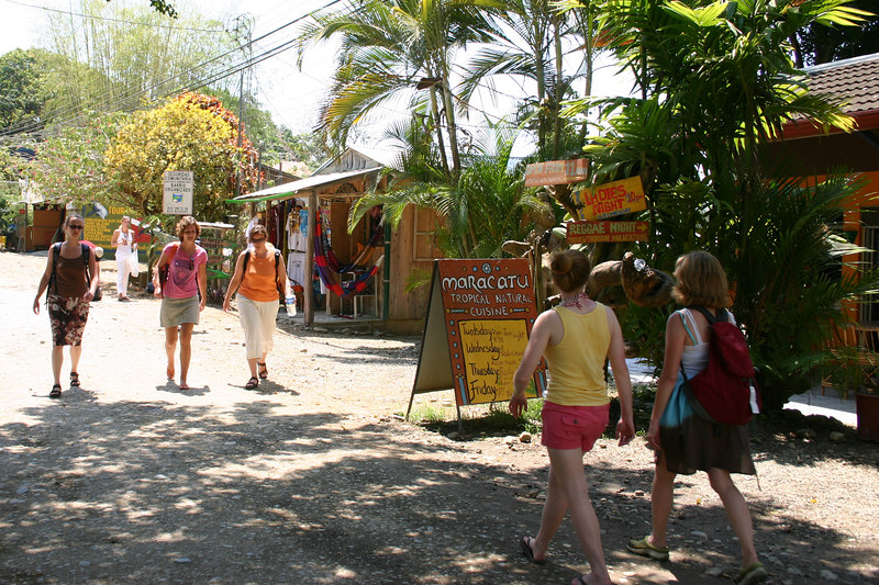 Kathy and Hannah shopping in the village of Dominical.
