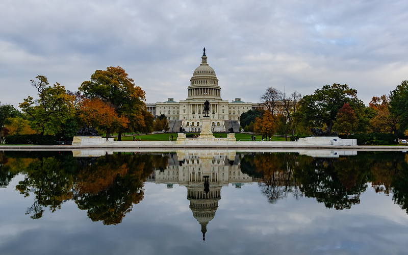 view of Capitol Hill and Ulysses S. Grant Memorial from Capitol Reflecting Pool