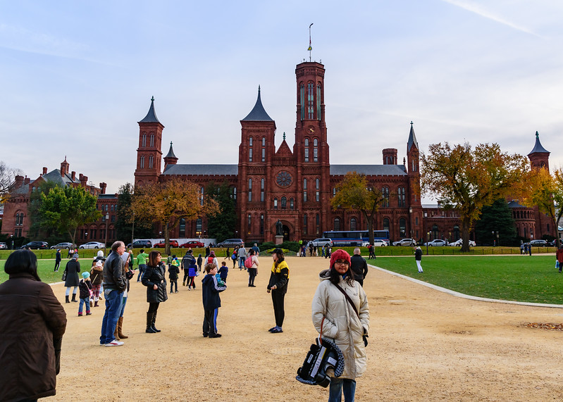 Shwetha in front of  Smithsonian Castle