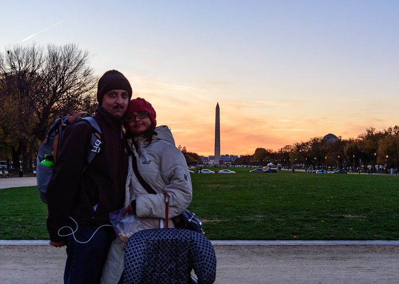 at National Mall with Washington Monument in the background