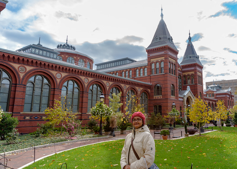 Shwetha outside Smithsonian Arts & Industries Building