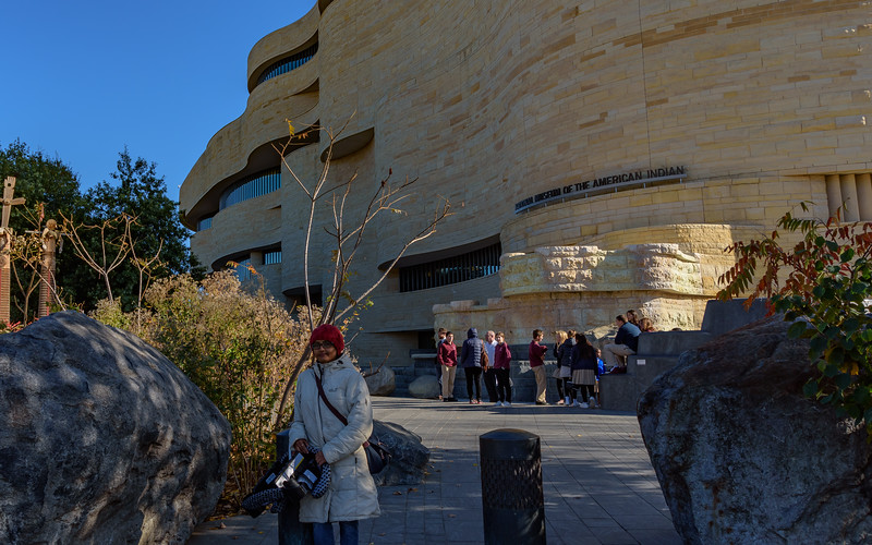 Shwetha in front of National Museum of the American Indian