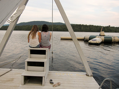 Alaina and Gracie enjoy the evening on the dock.