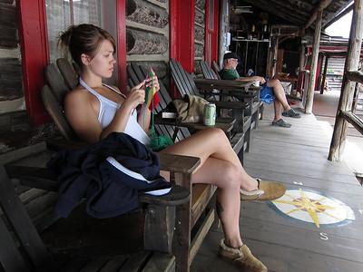 Paige knitting at the main lodge.