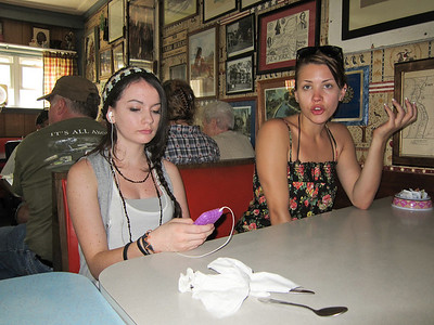 Alaina and Paige waiting for some fine dining in Fort Edward, NY.