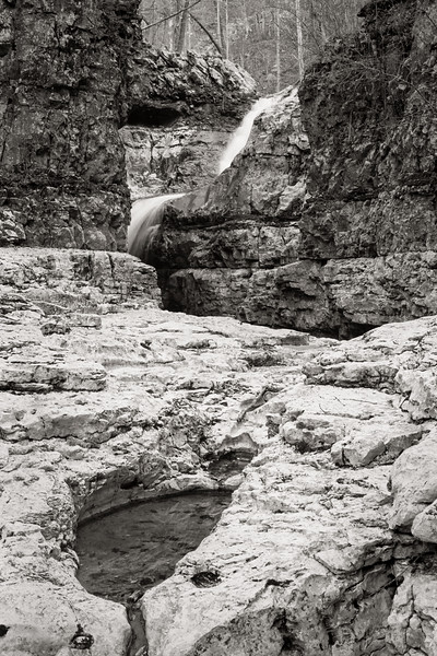 Walls of Jericho-B&W film of waterfall