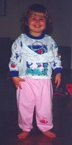 Kayla dressing up just like Mommy.  September 1999