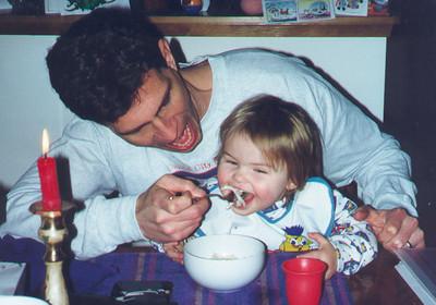 Dad and Kayla enjoying a bowl of Udon noodles.  February 1999