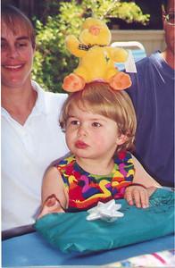 Kayla celebrating her second birthday at her Grandma Susan and Grandpa Hal's house.  Palo Alto CA June 1999