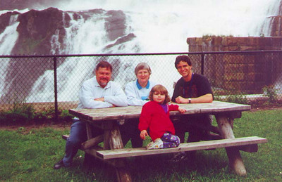 Kayla and Paul with Paul's Uncle Rudy and Aunt Connie at Croton Gorge.  Croton-on-Hudson NY June 2000
