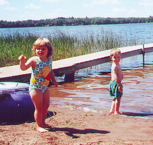 Kayla visits Simon and Evan Abbott at their family cabin.  Moose Lake MN August 2000