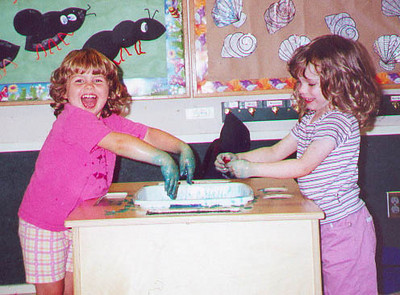 The green hand incident at day care.  Kayla is here with her friend Kaitlin.  Bellevue WA September 2000