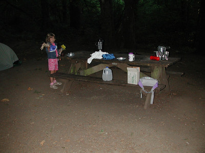 Making breakfast at the campsite.