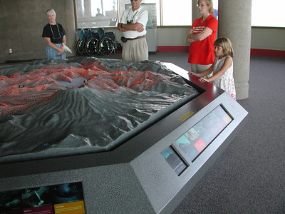 Looking over a map showing where hot ash from the 1980 eruption of Mount St. Helens' went.