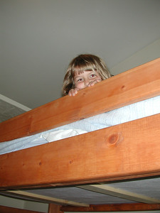 Kayla got to sleep in a bunkbed in our cabin near Rainier.