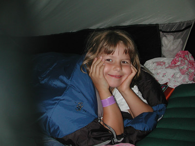 Kayla ready for sleep. It turns out we didn't need those 20 degree sleeping bags - it was about 85 degrees at night.