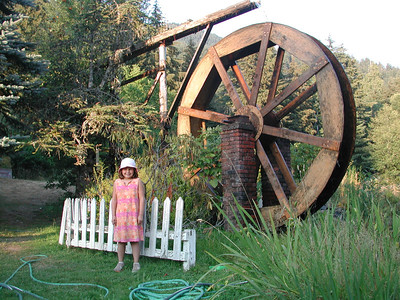 Kayla in front of Alexander's Country Inn, where we ate a nice dinner. She liked the waterwheel.