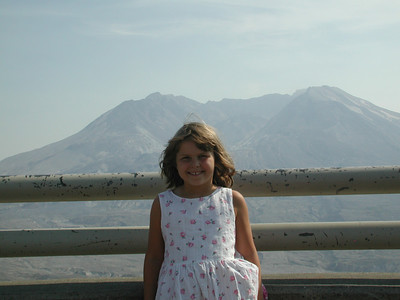 Kayla and the volcano.